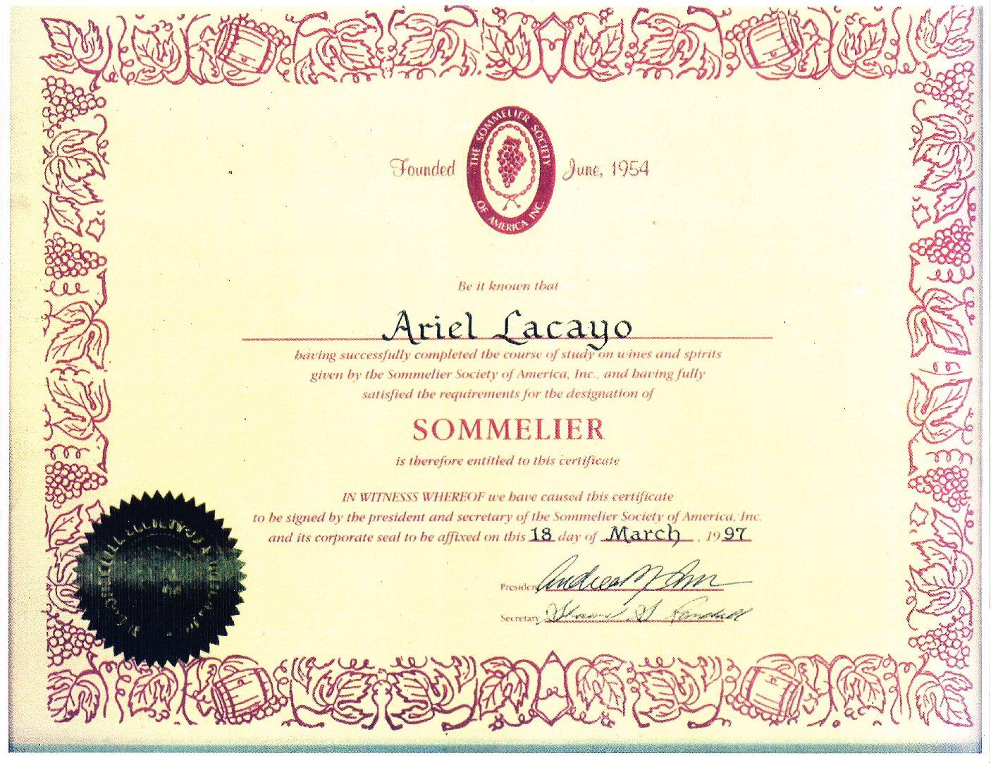 sommelier certificate ariel lacayo