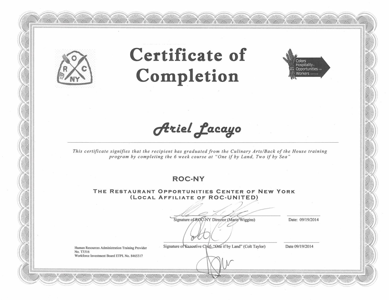 Certificates – Ariel Lacayo